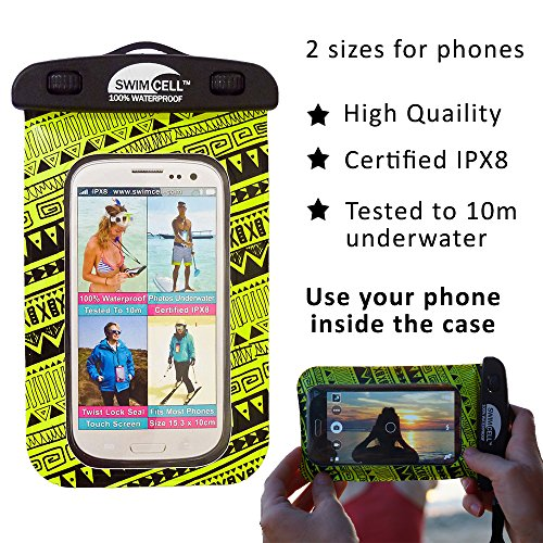 Quality For Tablet Kindle Waterproof High Patented Case Small Neon Dry Sunglasses Other Certified 1 Documents iPad Money Camera Underwater Yellow SwimCell 20m Tested IPX8 Valuables mini 100 and Pouch qzwxE8HAI