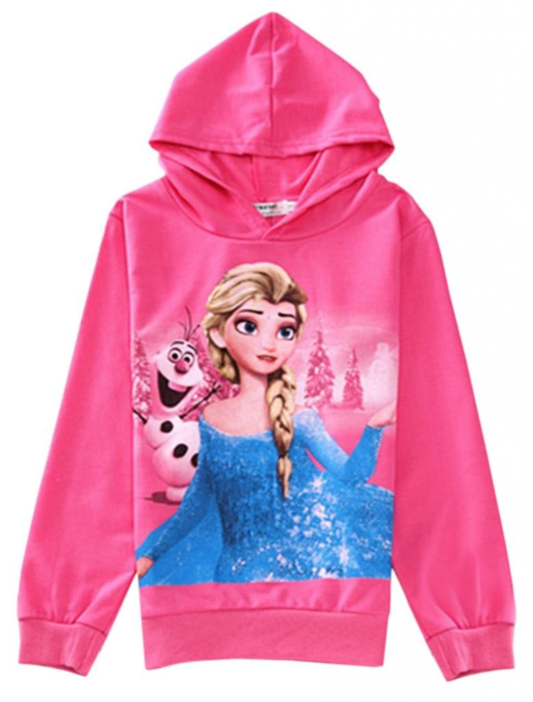 Eyekepper Ice Snow Queen Hoodie Zipper Sleeveless Jacket Coat for Girls Kids F013-70-Rose Red-100
