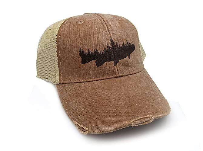 Amazon.com  Trucker Hat - Forest and Fish - Men s Distressed Mesh ... d8c8c934af60