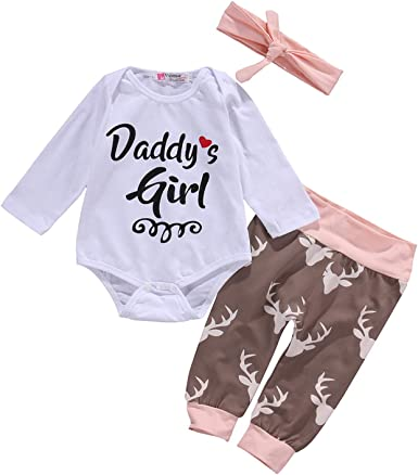 Spring Newborn Baby Girls Romper Tops Jumpsuit Pants Headband Outfit Clothes Set