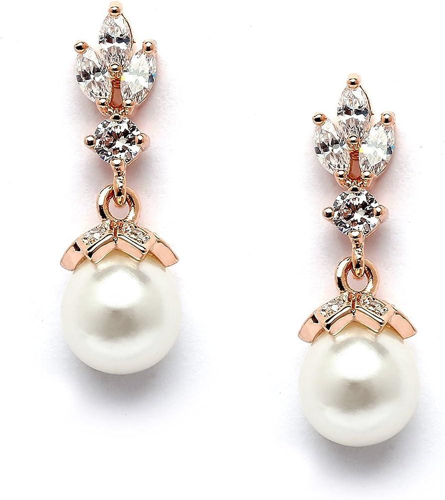 Bridal earrings christmas gift Rose Gold bridal earrings Pearl and orchid earrings long dangle flower earrings silver flower earrings
