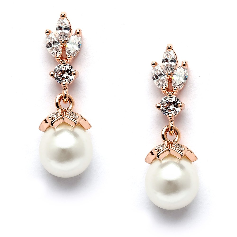 Mariell Rose Gold Wedding Earrings with Pearl Drops and Marquis CZ