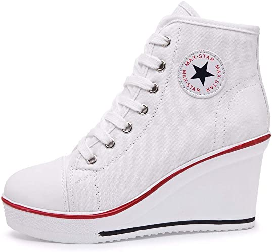 siphly Damen Keilabsatz Schuhe 35 43 EU Canvas Sneaker