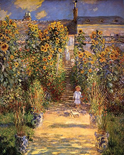 The Artist's Garden at Vetheuil with Boy, c.1880 by Claude Monet Art Print, 14 x 18 inches