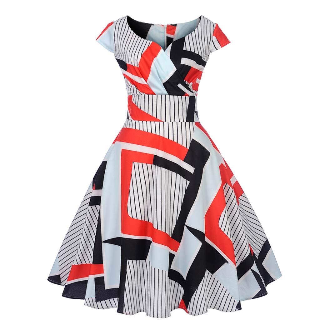 COPPEN Dresses for Women Party Prom Vintage 1950s Retro Short Sleeve V-Neck Swing Dress