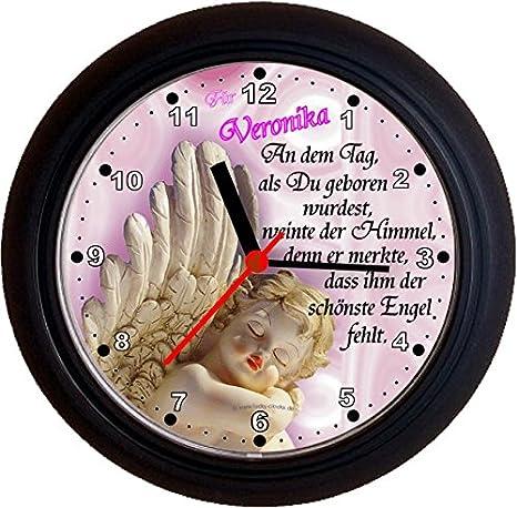 Lucky Clocks - Ángel Bonito Reloj de pared con ángel en rosa y azul disponible para cualquier ocasión con cualquier Marcar y cualquier nombres nombres ...