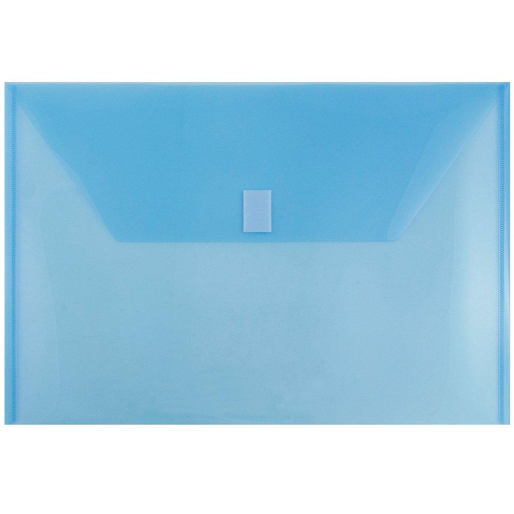 JAM PAPER Plastic Envelopes with Hook & Loop Closure - Legal Booklet - 9 3/4 x 14 1/2 - Blue - 12/Pack