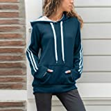 Behkiuoda Women Hoodie Sweatshirt Striped Coat Long