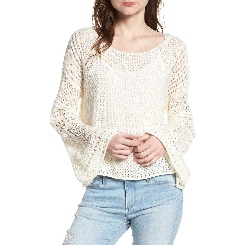 (ワンステート) 1.STATE レディース トップス ニットセーター Pointelle Stitch Bell Sleeve Sweater [並行輸入品] B07GZPS59N   XL