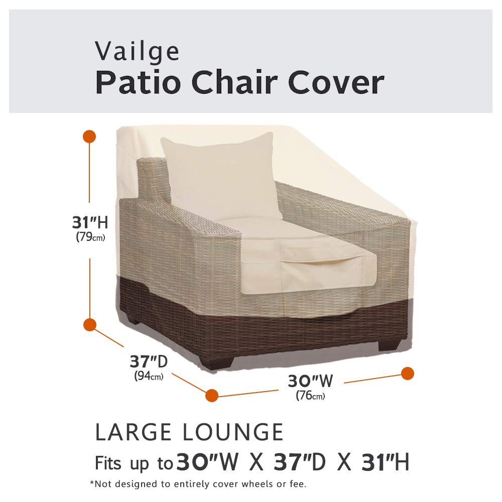 Vailge Patio Chair Covers, Lounge Deep Seat Cover, Heavy Duty and Waterproof Outdoor Lawn Patio Furniture Covers (4 Pack - Medium, Beige & Brown) by Vailge (Image #3)
