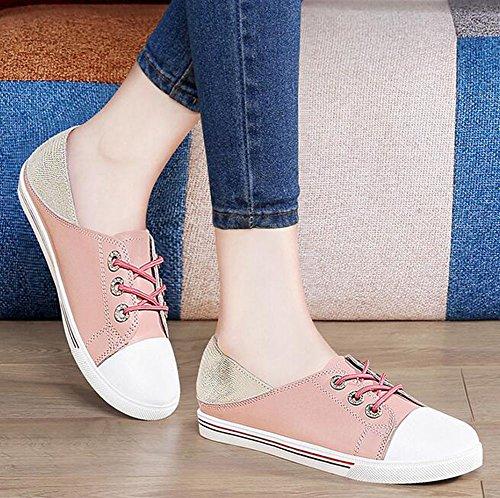 de Chica Plana Bajos Las Joven Zapatos la Ladies Color la Rosado Cosy del 37 de Casuales tamaño Simple Zapatos Rosado Zapatos Mujeres de White Pink Inferior PU Casuales Verano v7qRB7wx