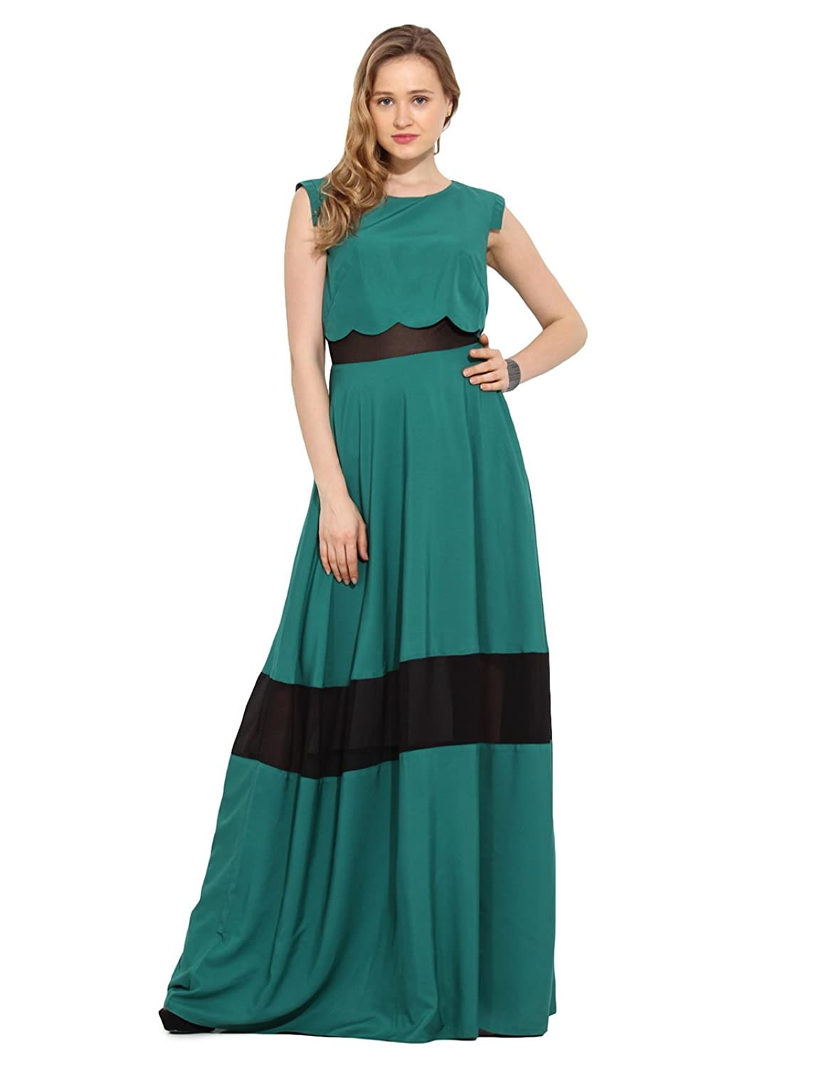Saiesta Women's Cap Sleeve Green Scallop Hem Floor Length Maxi Dress