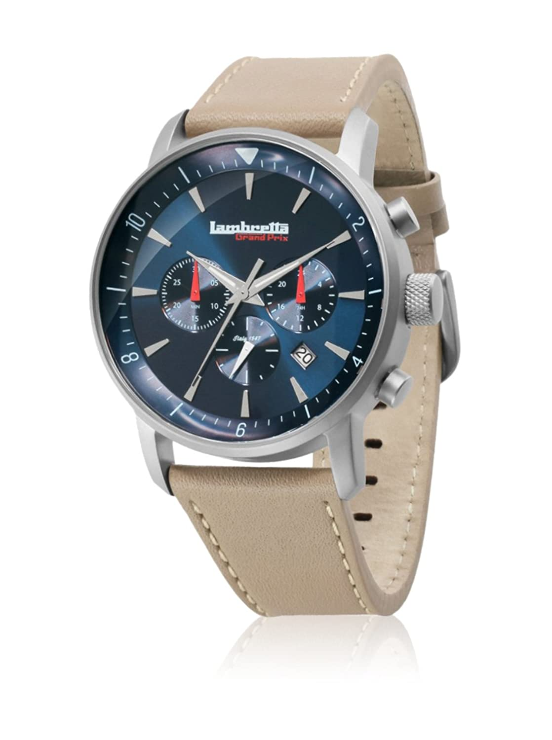 Lambretta Imola Leather Brown Chronographe Quartz Acier Blanc Cuir Brun RetrÒ Racing Homme Montre