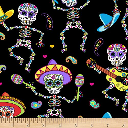 Timeless Treasures Dancing Day of The Dead Bright Fabric by The Yard