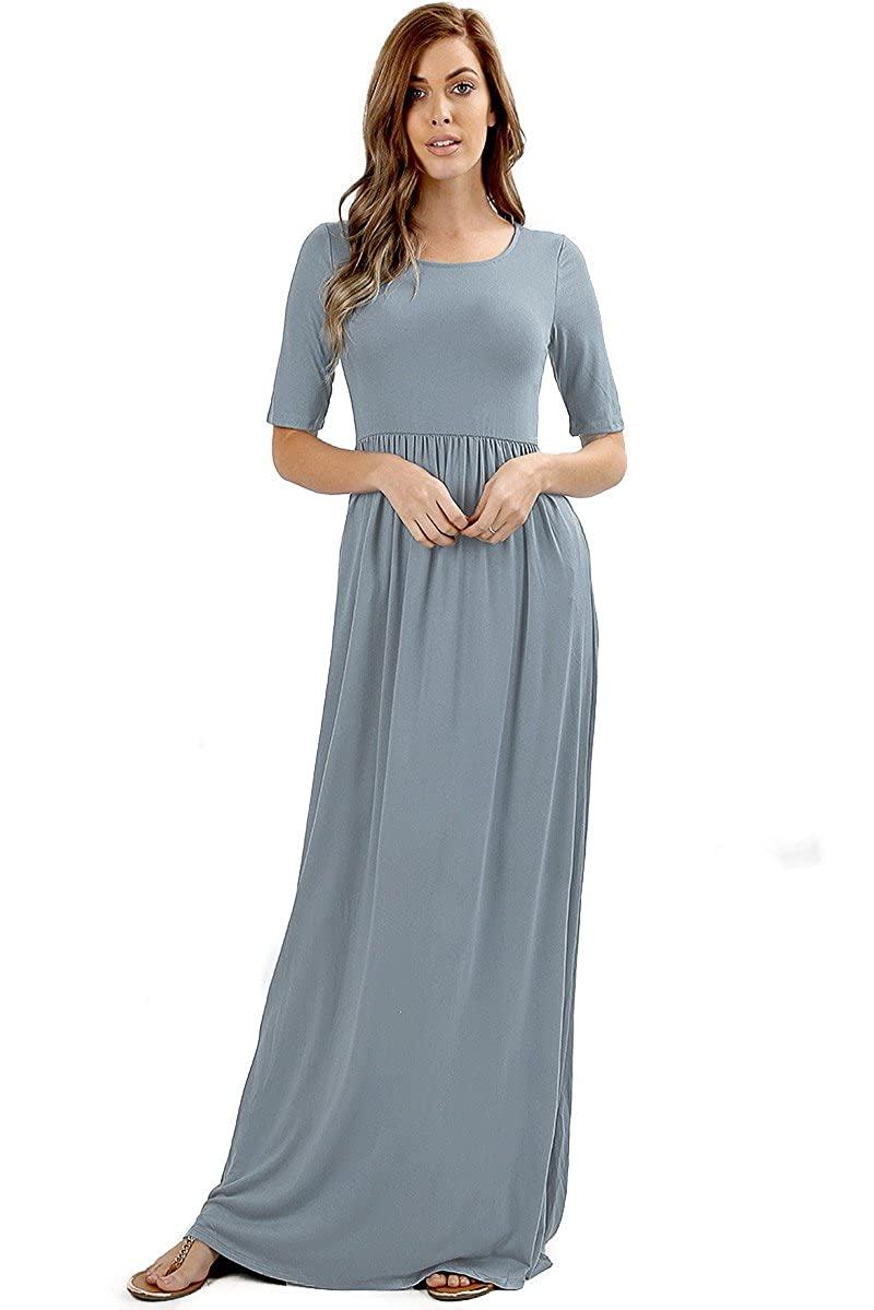 8d92cb7b5b1c Casual Women's Long Maxi T-Shirt Dress w/ Half Sleeves and Side Pockets