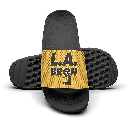 3c6f6bcf50398c ADIDII Mens Printed Non-Slip Slippers Slide flip Flop Sandals  La Bron Yellow Logo Basketball Summer Indoors