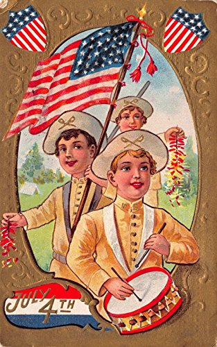 - July Fourth Postcard Patriotic Children with Flags, Drum and Firecrackers~112596