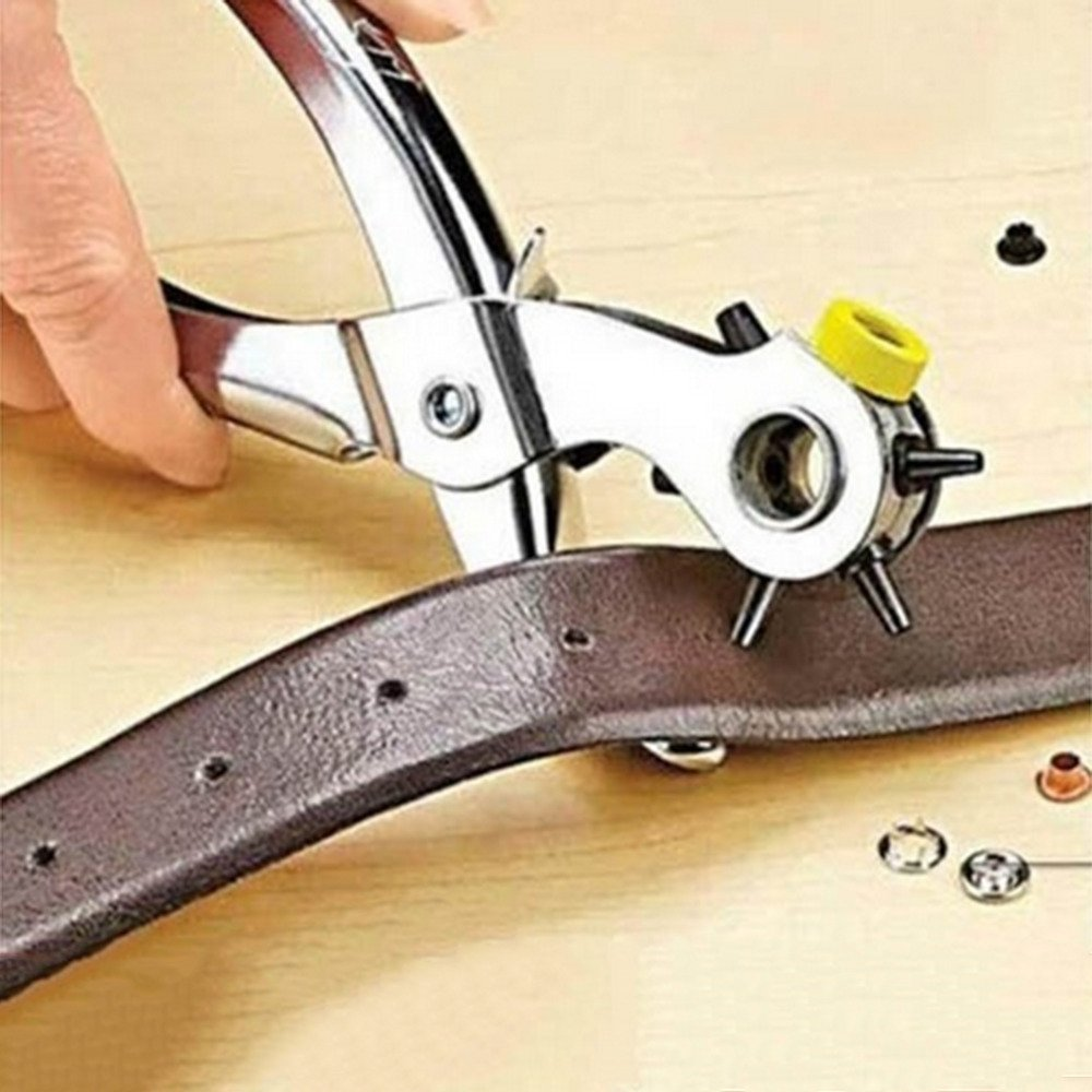 Michelle Multi-function Portable Puncher Heavy Duty Leather Canvas Hole Punch Hand Pliers Belt Holes Punches 5 Different Hole Sizes Tool