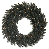 """Vickerman Pre-Lit Black Fir Artificial Halloween or Christmas Wreath with Clear Lights, 36"""""""