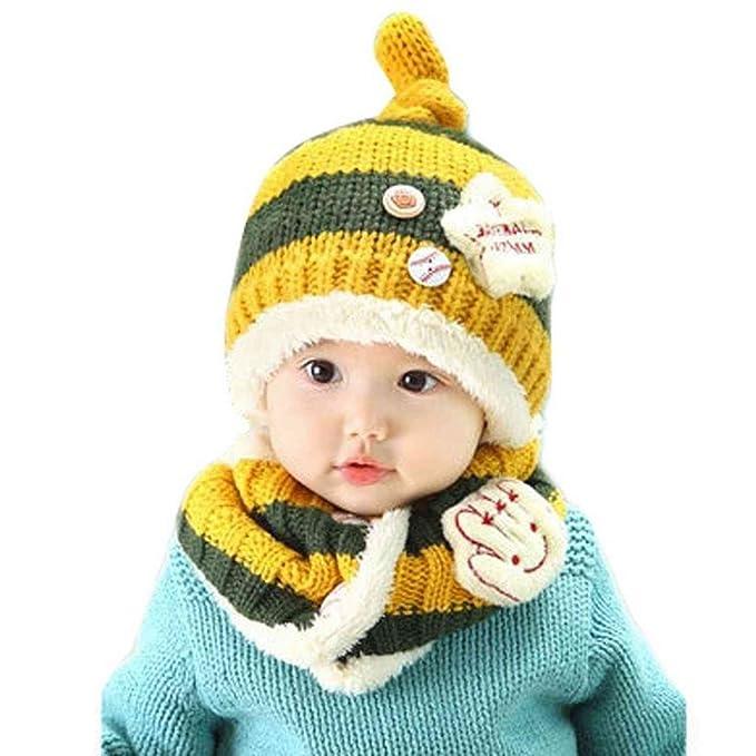 DAYAN Invierno Gorro y Bufanda Crochet Lana de cordero para Bebés niños niñas bufanda sombrero Tejer Color amarillo: Amazon.es: Ropa y accesorios