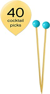 Simply Baked Small Appetizer & Cocktail Pick Turquoise Ball on Natural Wood Pick 3.5 Inch 40-Pack Disposable and Sturdy