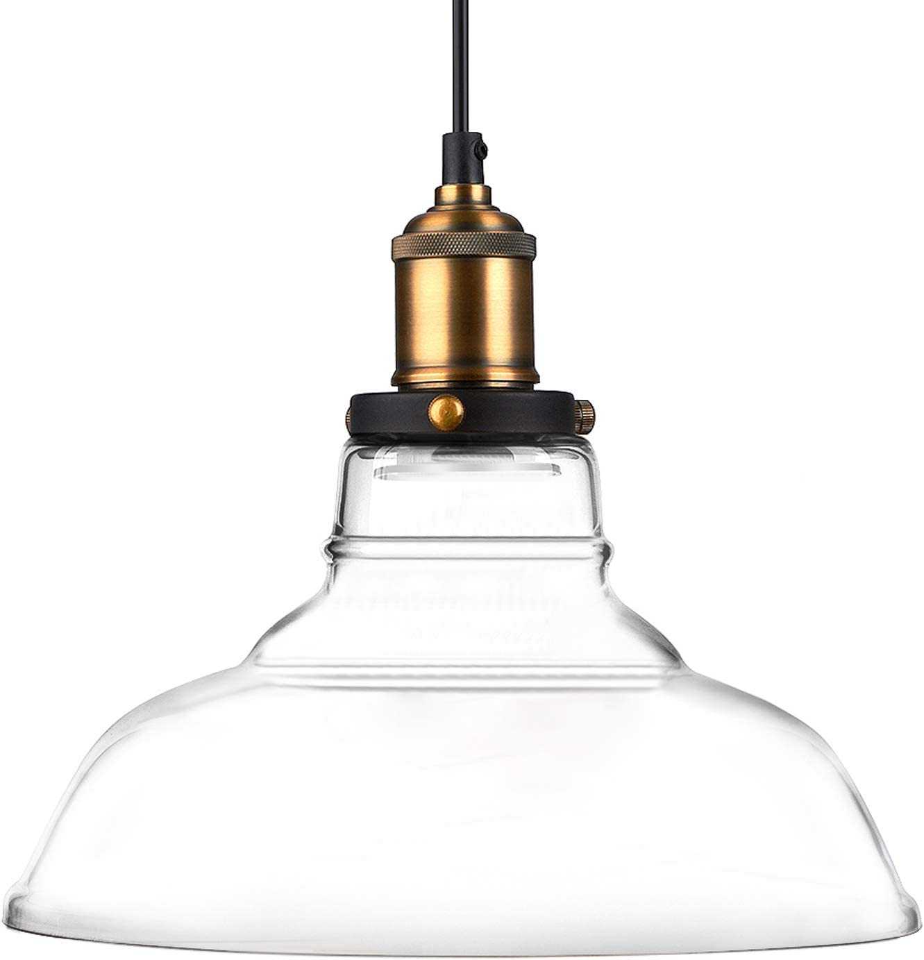 Oak Leaf Glass Pendant Lighting Fixture, Kitchen Ceiling Light Fixture Hanging Chandelier, Edison Vintage Style Lampshade with Adjustable Cord