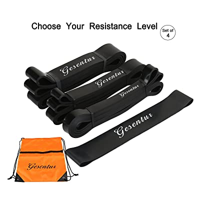 Lot de 4bandes d'exercice, bandes élastiques, Gesentur Premium Latex Pull Up Fitness Bande d'exercice entraînement sangle–Sangle d'entraînement pour le yoga crossfit Fitness Pilates