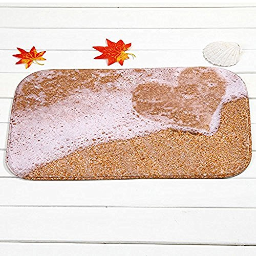 FunkyHome Beach Heart Sand Indoor Outdoor Door Mat, Ocean Sea Themed Non-slip Rubber Entrance Mats Rugs for Bathroom/Front Doormat, 23.6x15.7inch