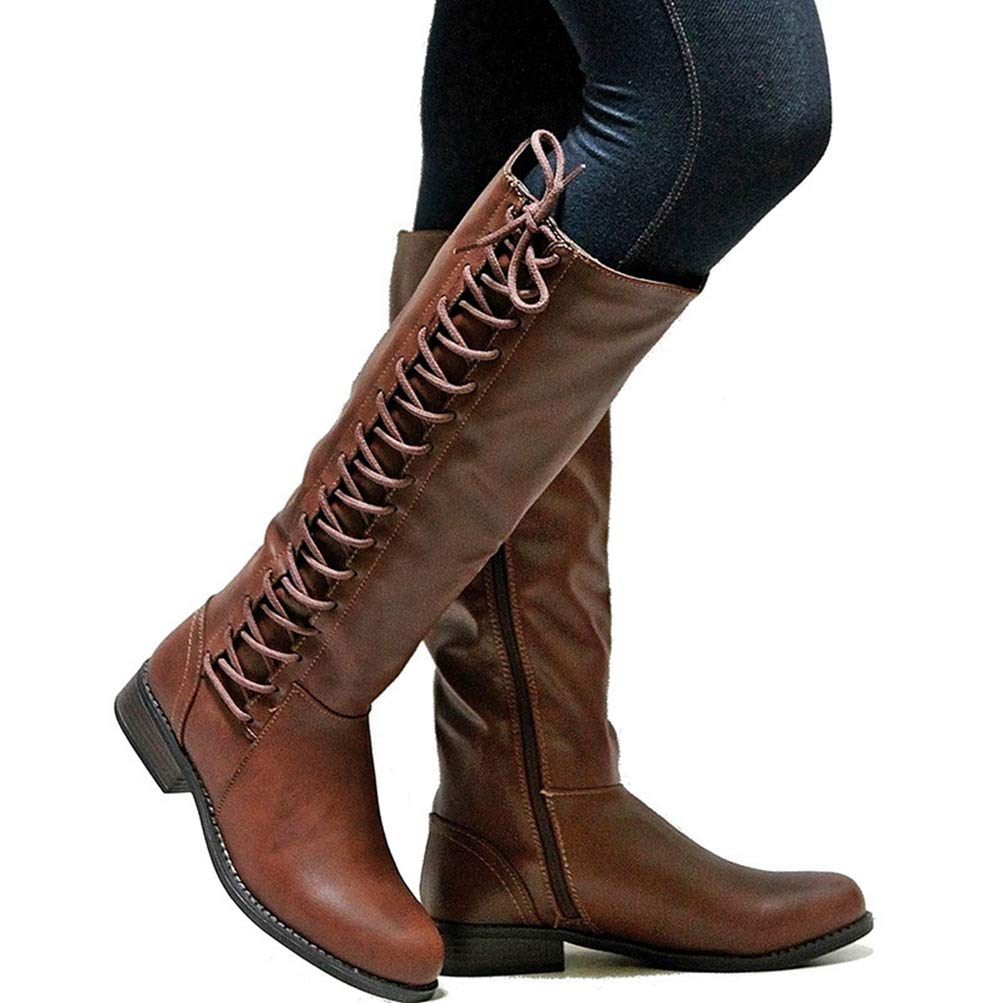 Brown Womens Vintage Autumn Winter Round Toe Lac- Up Square Low Heel Military Riding Combat Martin Mid Calf Boots