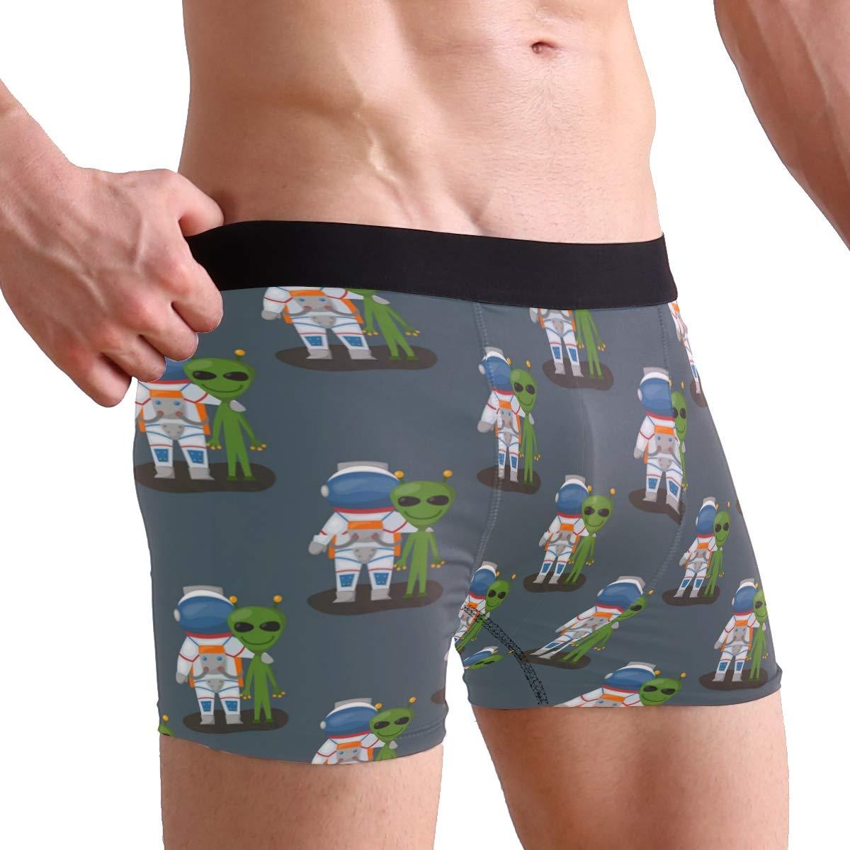 Charlley Lee Mens Soft Breathable Green Alien Astronaut Underwear Boxer Briefs