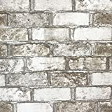 Slavyanski vinyl wallpaper gray grey white brown rust rustic coverings textured pattern vintage realistic stone faux brick double roll wallcovering wall paper decal decor textures 3D washable modern