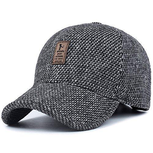 VoilaLove Men's Winter Warm Wool Woolen Tweed Peaked Baseball Cap Hat With Fold Earmuffs Warmer (Tweed Wool Hat)
