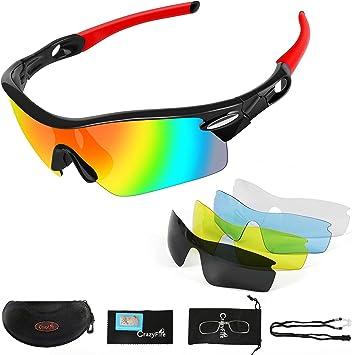 Gafas De Sol Deportivas Crazyfire Uv 400 Protección Gafas Deportivas Polarizadas Con 5 Set De Lentes Intercambiables Para Hombre Mujer Amazon Es Deportes Y Aire Libre