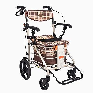 Silla de ruedas Rampas Caminante/Caminador Plegable/Carretilla para Ancianos/Scooter/Carrito de Compras portátil/Dé a los Ancianos un Regalo íntimo/Carrito ...