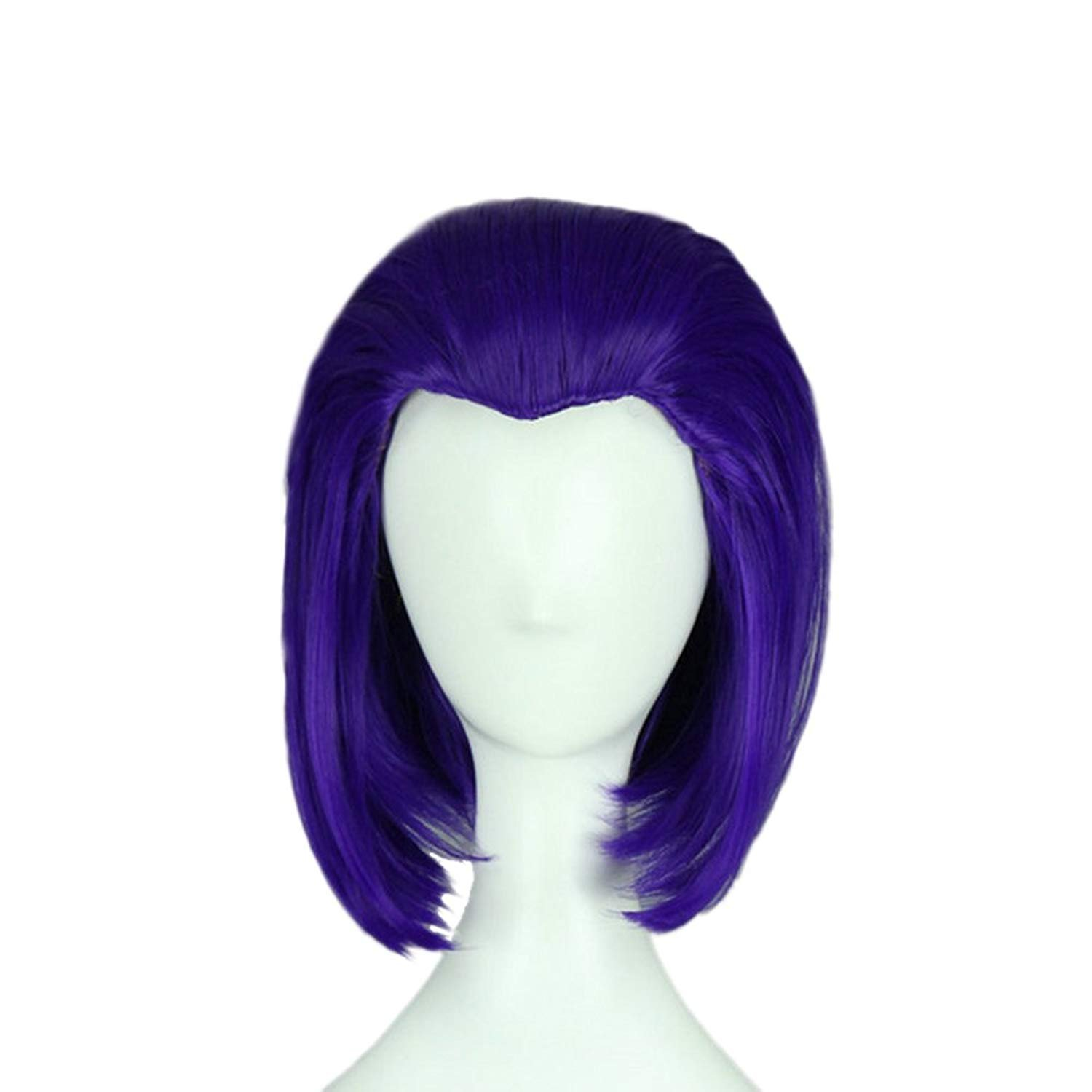 Short Straight Purple Wig Halloween Cosplay Full Hairpiece with Wig Cap