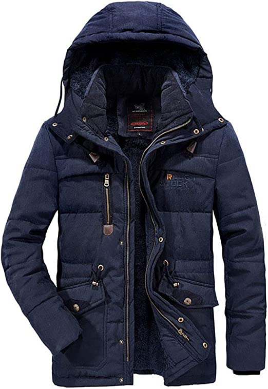 メンズコートとジャケットメンズ秋冬ミディアム丈フード付き厚みのあるビジネスコットンコートメンズジャケット防風
