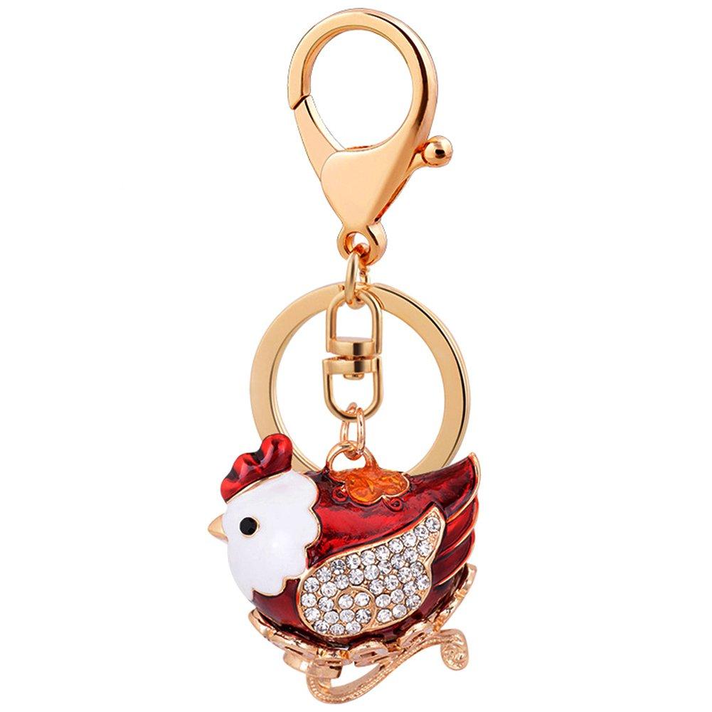 leomoste Shiny Crystal Diamond Keyring Cute Cartoon Chick Keychain Mini Bag Decoration Creative Gift for Girls and Women
