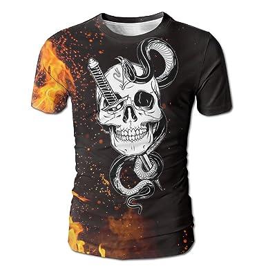 20c2814fa51f Amazon.com  Rniom Skull Swords and Snakes Men s T-Shirts Short Sleeve T-Shirt  Tee Full Print For Mens  Clothing