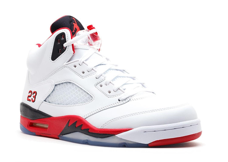 reputable site 16e56 d896a Amazon.com   Jordan Air 5 Retro Men s Basketball Shoes White Fire Red-Black  136027-120-11   Basketball