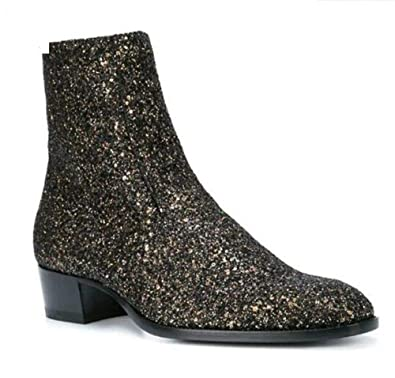 9931db4f02f269 Amazon.com | Genuine Leather Bling Gold Men Fashion Chelsea Boots Low Heel  Side Zipper Top Ankle Boots Shoes | Chelsea