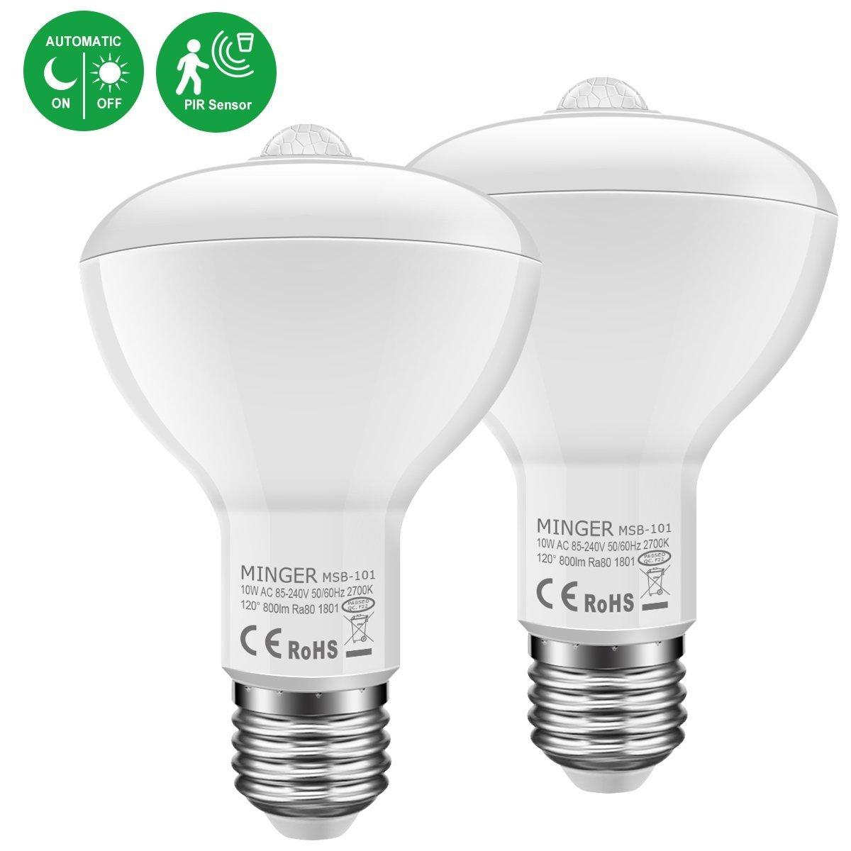 Minger 9 W 10 Wモーションセンサー電球ライトスマートdusk-to-dawn 10W-BAR30-2Pack H6011912 B0796R7H5W  10W-BAR30-2Pack