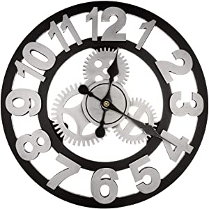 BEAMNOVA Large Wall Clock Decorative for Living Room Decor Steampunk Farmhouse Rustic Vintage Wall Décor Timer, Silver Arabic 23 Inch