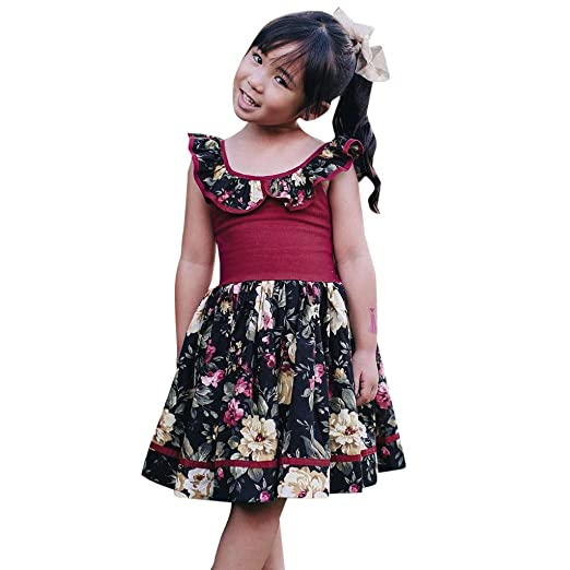 a84a67709 Amazon.com: Baby Ruffle Swing Dress,Summer Toddler Girl Sleeveless Floral  Print Princess Casual Dresses Clothes: Beauty