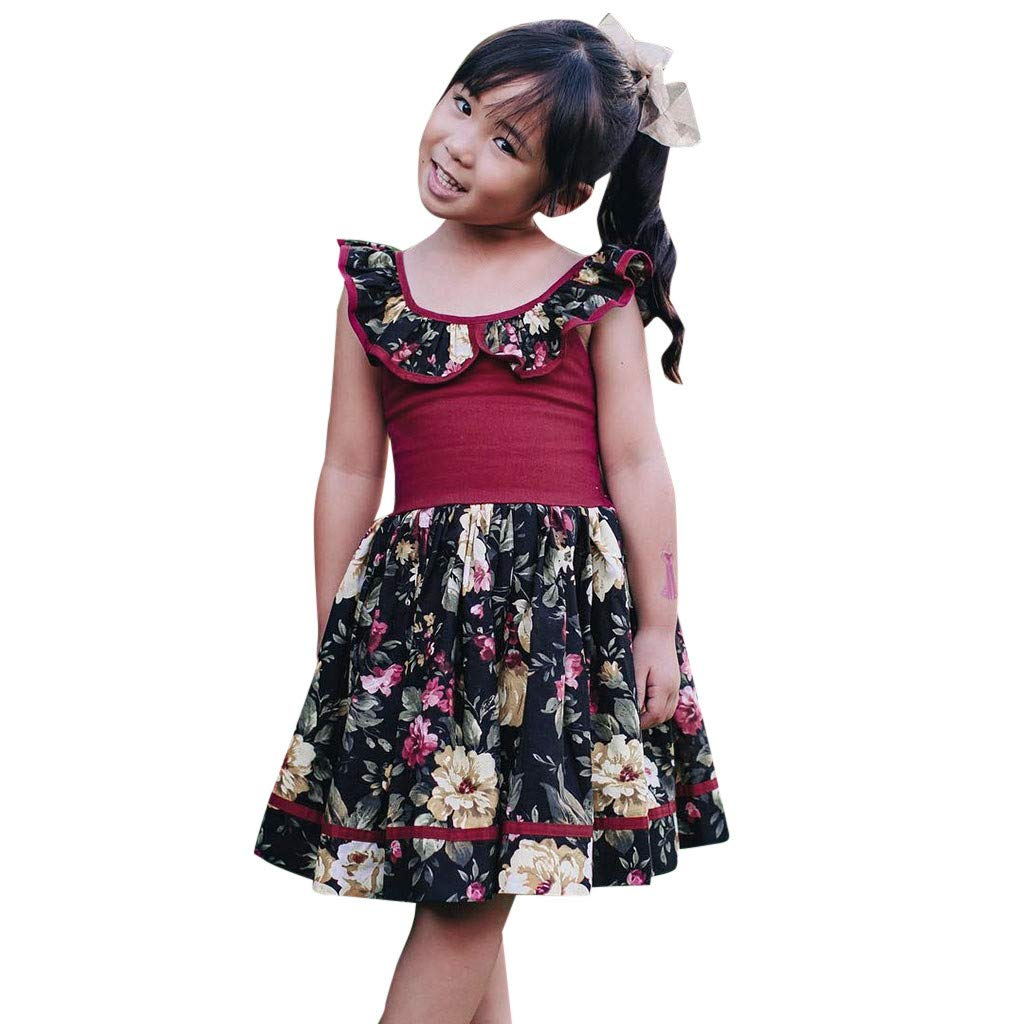 HANANei Toddler Baby Girls Summer Sleeveless Floral Print Backless Dress Clothes Skirt (2-3T, Red)