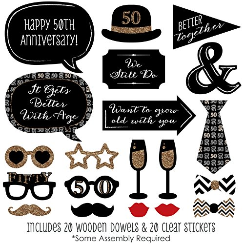50th Anniversary - Photo Booth Props Kit - 20 Count New