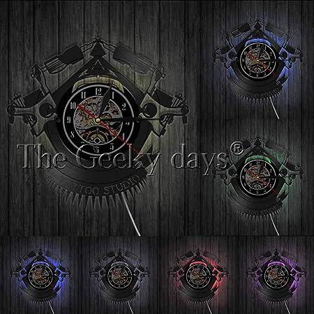 DFRTY Vintage Tattoo Vinyl LP Record Reloj de Pared Estudio de ...