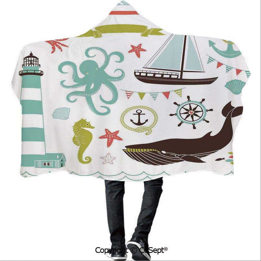 AmaUncle Hooded Blankets,Decorative Illustrations Nostalgia Cartoon Artwork Seaside House Knot Light,Unisex All Ages One Size Fits All(59.05x78.74 inch), by AmaUncle