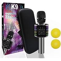 Wireless Bluetooth Karaoke Microphone Bluetooth 5.0 with Dual Sing, LED Lights, Portable Handheld Mic Speaker Machine…