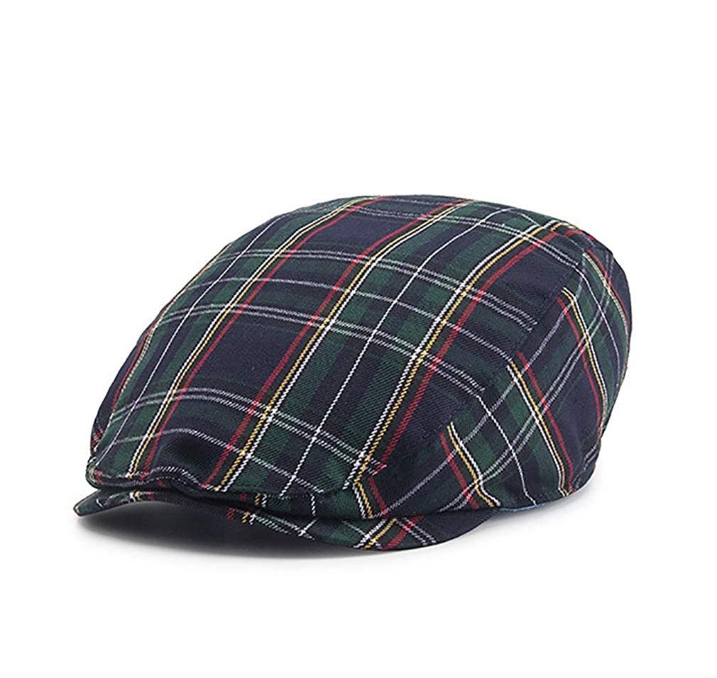 RICHTOER Newsboy Cap Beret Men Women Flat Caps Cotton Plaid Hat Outdoors