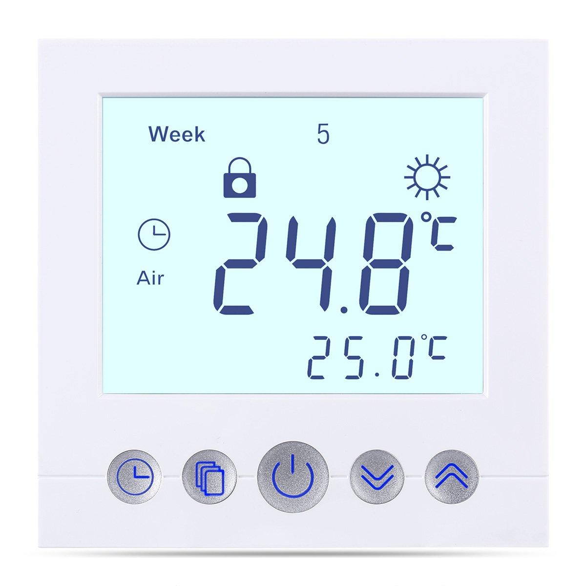 FLOUREON digital Thermostat programmierbar Raumthermostat f/ür Fussbodenheizung Wasser Heizung Wandheizung Wandthermostat mit LED Touchscreen 230V 3A Raumtemperaturregler